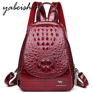Image 1 - 女性のための女の子レディースワニ皮パターンバックパックmochila feminina旅行バックパック嚢aドスショルダーバッグ