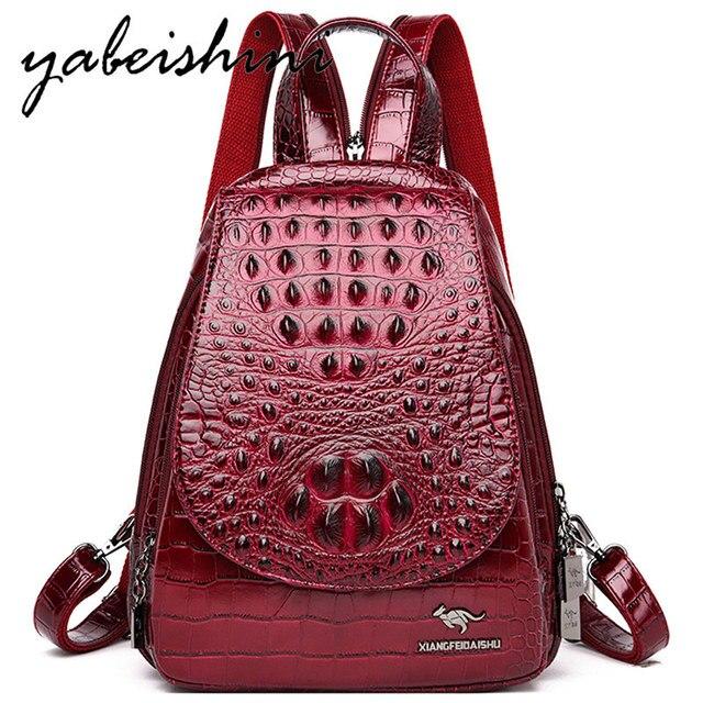 女性のための女の子レディースワニ皮パターンバックパックmochila feminina旅行バックパック嚢aドスショルダーバッグ