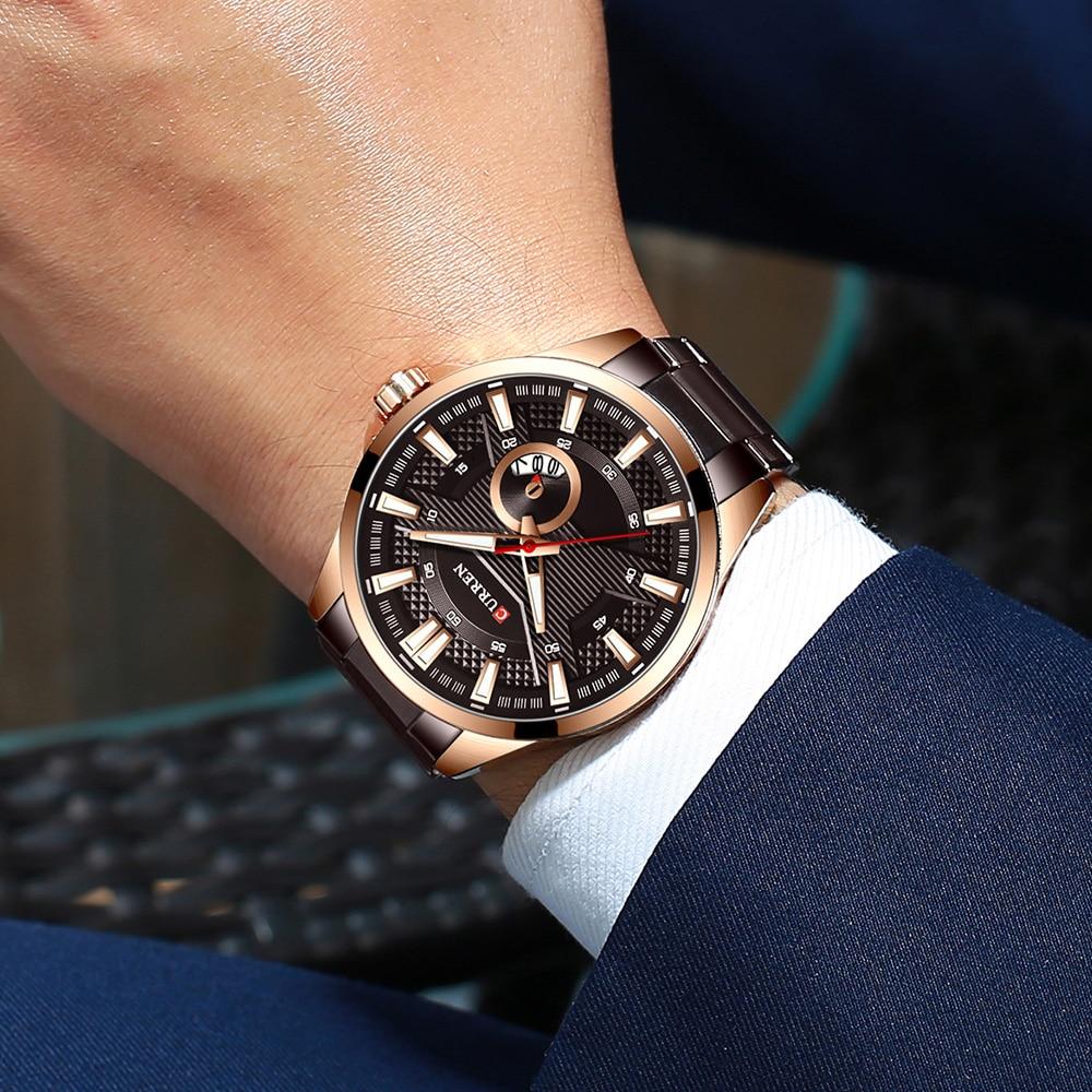H5f3a8a551aa8448b99ecb2c305845639N New Stainless Steel Quartz Men's Watches Fashion CURREN Wrist Watch Causal Business Watch Top Luxury Brand Men Watch Male Clock