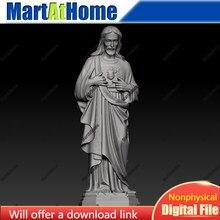 Jesus escultura modelo 3d arquivo stl redondo escultura desenho para cnc roteador gravura & impressão 3d