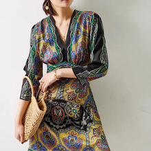 2020 Spring and Summer New Ethnic Style V-neck Retro Printed Long-Sleeved women's Dress