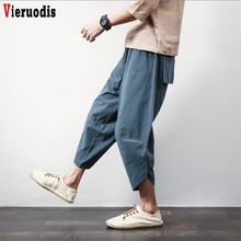Men Baggy Ultralarge print Pants Casual Calf-Length Pants Male Summer Punk Street Pants Lantern Pants Men Hiphop Jogger Trousers cheap Vieruodis Wide Leg Pants Ankle-Length Pants Flat Loose Linen COTTON Full Length Midweight Broadcloth Pockets Chinese Style