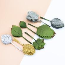 12 шт., сделай сам, Искусственный лист, цветок, шелк, свадебная брошь, зеленые листья, для вечерние, свадебные украшения, скрапбукинг, ремесло, искусственный цветок