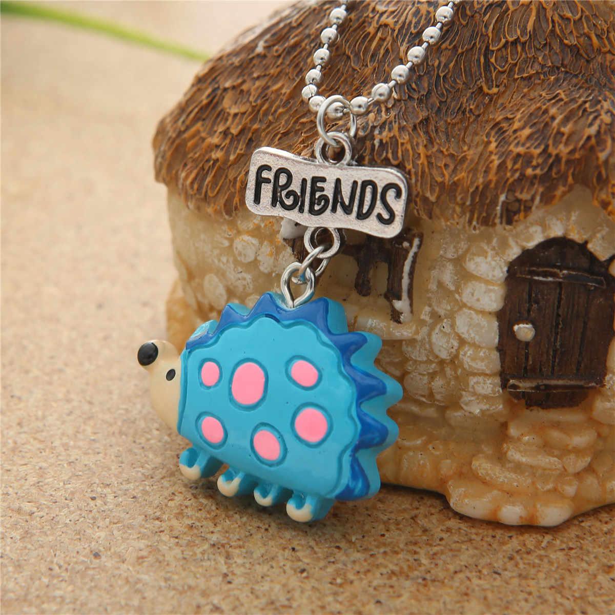 Resina Argila Mole Plástico Ouriço Dos Desenhos Animados Melhores Amigos Para Sempre Pingente Crianças Colar BFF Amizade Jóias