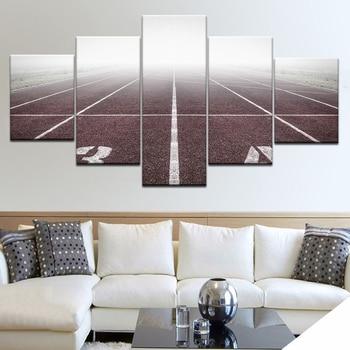 Cuadros de 5 paneles deportivos, pista de juegos, lienzo, arte de pared, cuadro de paisaje, lienzo HD, pintura moderna decorativa para sala de estar