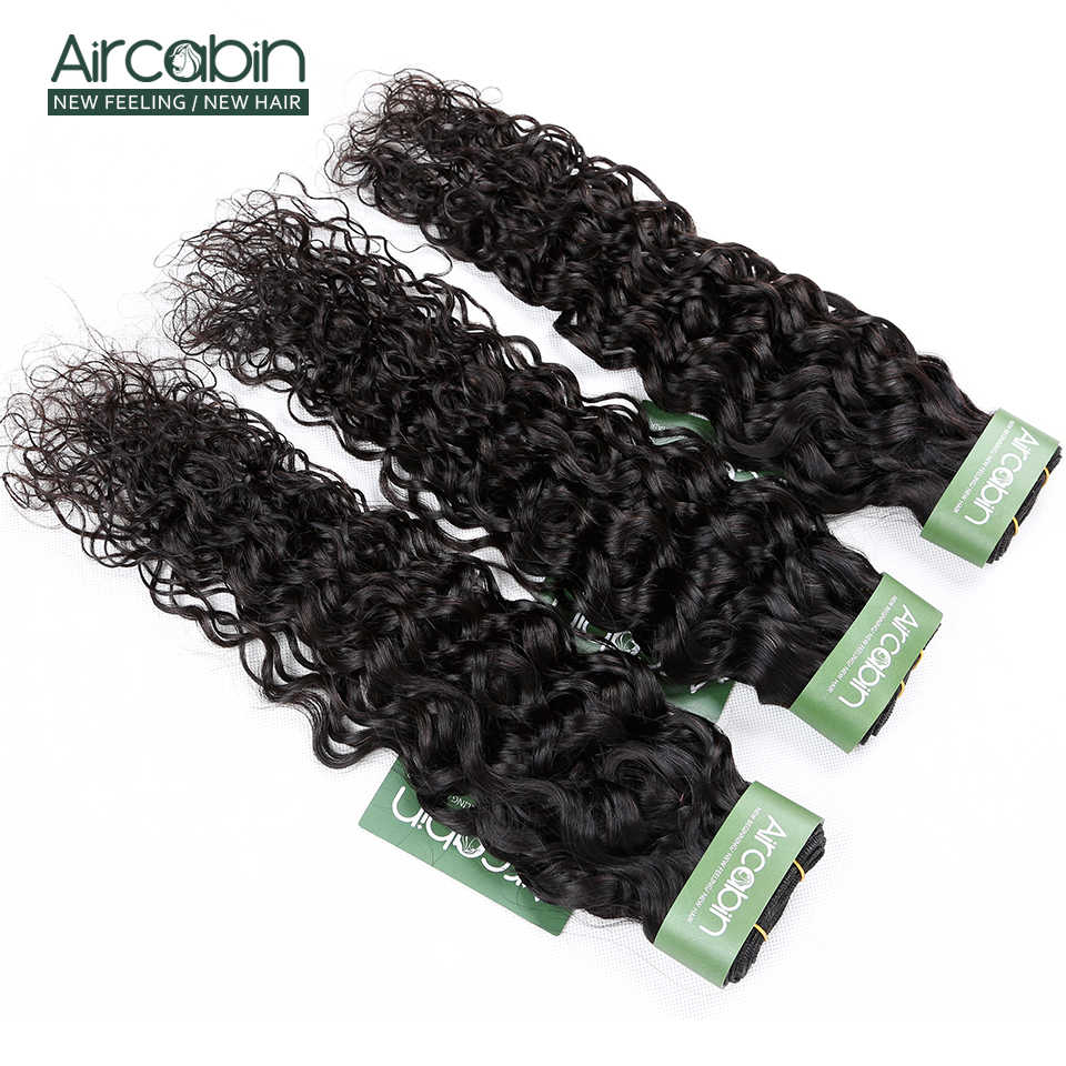 Aircabin Water Wave 1/3/4 Bundles Brazilian 100% Remy Human Hair Extensions Double Weft Weave Natual Color 8-26 Inch Bundles
