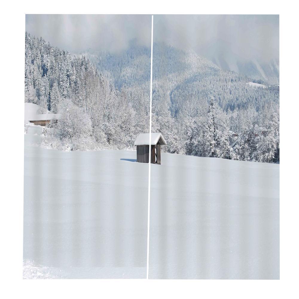 Пользовательские Душ Шторы снег в горах деревья Ванна Шторы в простом стиле для гостиной, спальни, Затемненные занавески