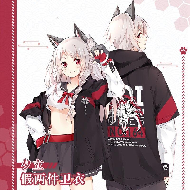 Anime Azur Lane IJN Yudachi Cosplay False two pieces Pullover Spring Autumn Fashion Hoodies Coat Sweatshirt Unisex Student Tops