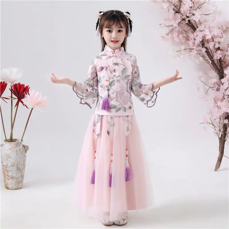 Chinese National Costume Hanfu Fairy Ancient Hanfu Embroidered Dress Autumn Winter Plus Velvet Han Dynasty Performance Clothing