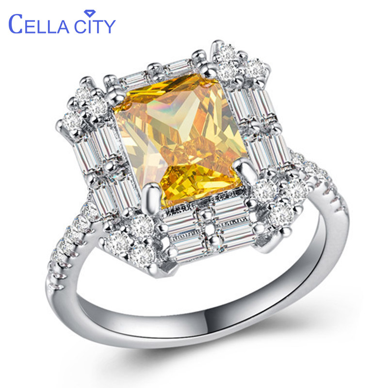 Cellacity Geometry Silver 925 Rings For Women Jewelry With Gemstones Rectangle Citrine Banquet Party Ring Size6,7,8,9,10 Gift
