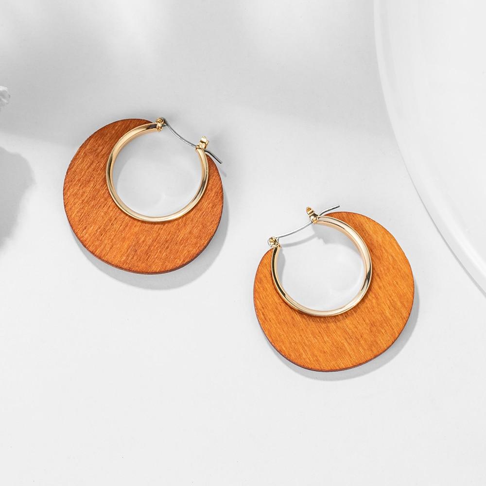 Fashion Elegant Brown Natural Wood Dangle Earrings For Women Vintage Bohemian Gold Geometric Hollow Drop Earring Ethnic Jewelry