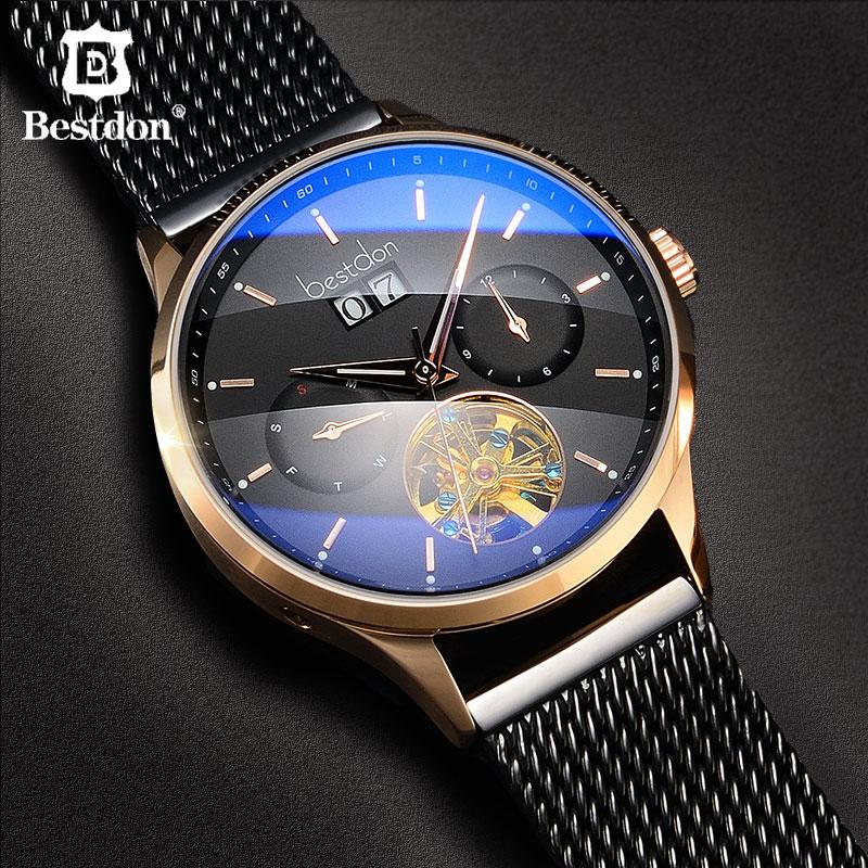 Bestdon szwajcaria automatyczny zegarek mężczyźni mechaniczne wodoodporna Skeleton zegarki moda pełna stal Luminous data Pilot w Zegarki mechaniczne od Zegarki na  Grupa 1
