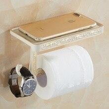 Soporte de papel higiénico de estilo Vintage con estante para teléfono, práctico y duradero, accesorios de baño colgantes para montar en la pared