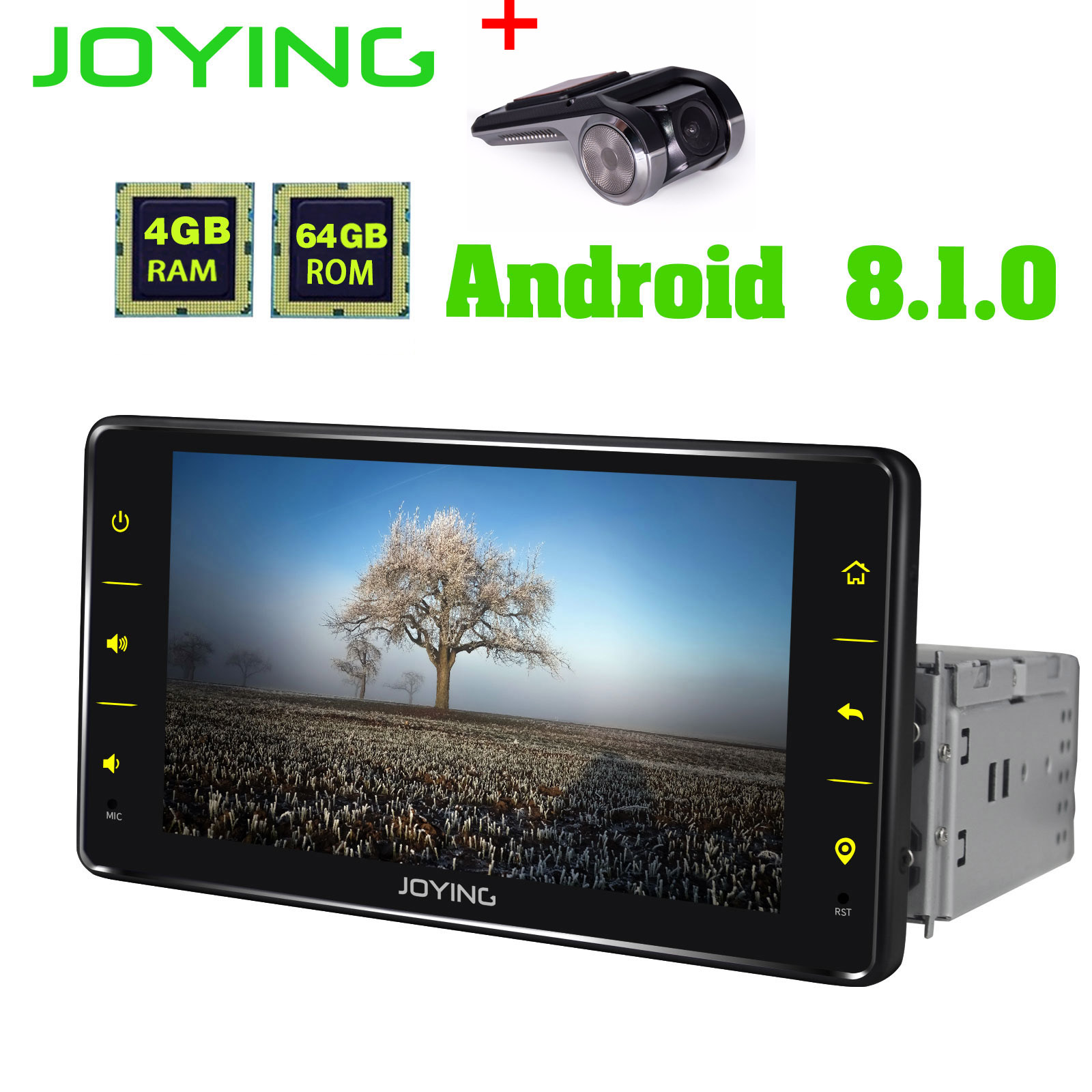 JOYING 1 din car radio Android 8.1 6.2 inch 4GB*64GB head unit support 4G/fast boot/SWC/DSP GPS tape recoder autoradio with DVR image