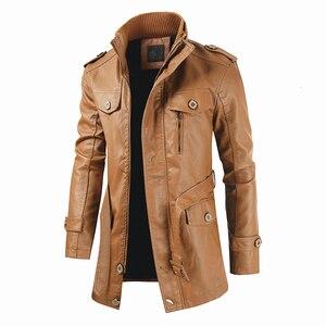 Image 4 - Oumor Men Winter Casual Long Warm Fleece PU Leather Jacket Coat Men Outwear Brand Thick Punk Motor Vintage Leather Jackets Men