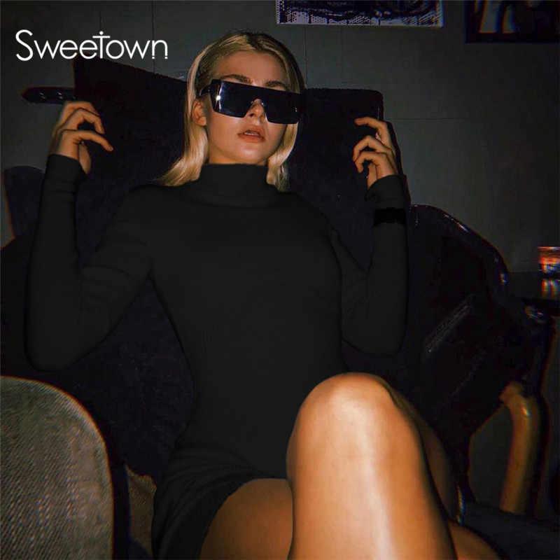 Sweetown alta calidad elegante sólido ceñido cuello alto mono 2020 Casual Street Elastic chándal Playsuit/Bodysuit Mujer