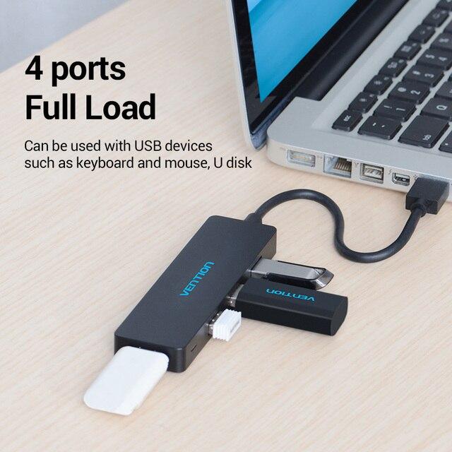 Концентратор Vention USB 3,0, 4 порта, адаптер, многофункциональный USB Высокоскоростной разветвитель OTG для Macbook, ПК, компьютерные аксессуары, адаптер USB Hab