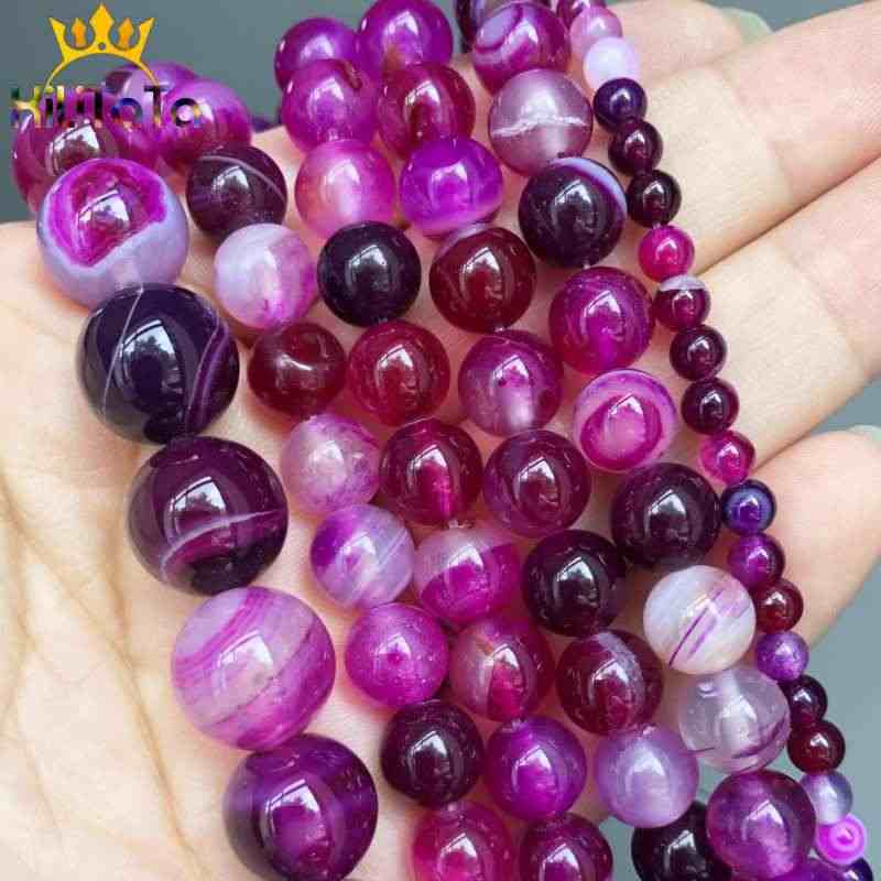 Natural Fuschia Striated Agata Onyx Beads Round Loose Stone Beads For Jewelry Making DIY Bracelet Accessories 15'' 4/6/8/10/12mm
