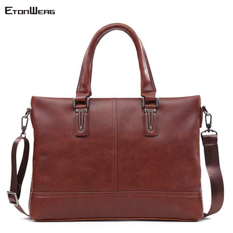 Men's Vintage Handbag Waterproof PU Leather Messenger Bags Business Office Tote Male Large Solid Computer Laptop Shoulder Bag