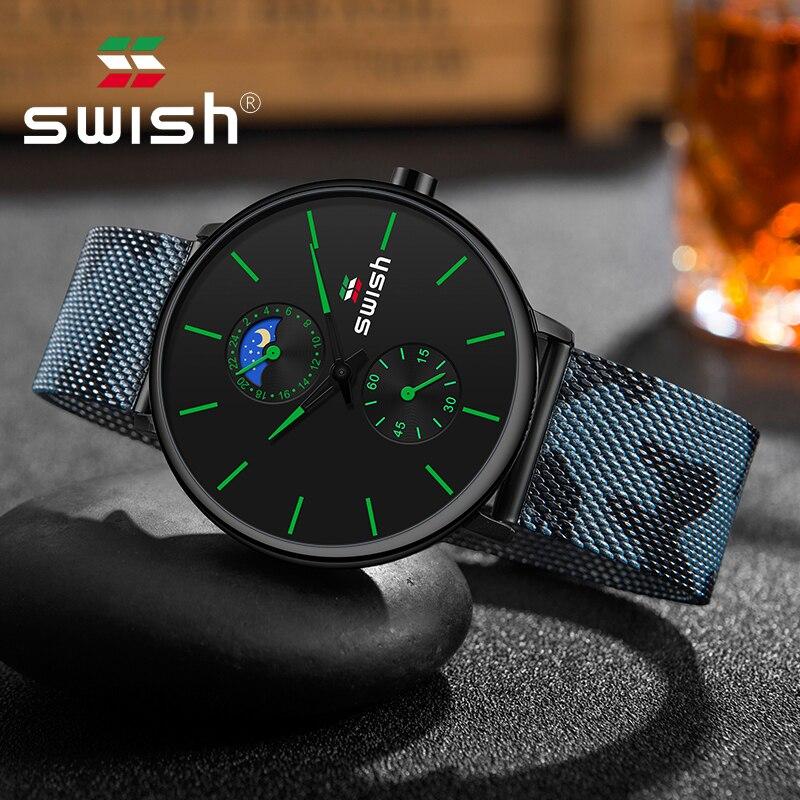 SWISH 2019 Wrist Watch Stainless Steel Luxury Brand Camouflage Mesh Belt Men Men's Clock Man Sports Waterproof Stainless