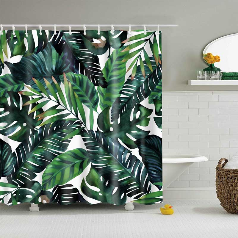 Image 2 - Green Tropical Plants Shower Curtain Bathroom Waterproof Polyester Shower Curtain Leaves Printing Curtains for bathroom shower-in Shower Curtains from Home & Garden