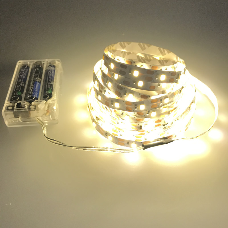 3AA Battery Powered LED Strip Non-Waterproof 3528 60LEDs/M 50CM 1M 2M 3M 4M 5M LED Tape With Battery Box Warm/cold White Strip
