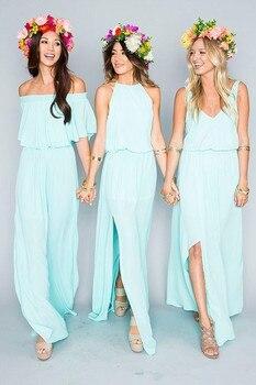 Mint 2019 Cheap Bridesmaid Dresses Under 50 A-line V-neck Chiffon Slit Sexy Long Wedding Party Dresses
