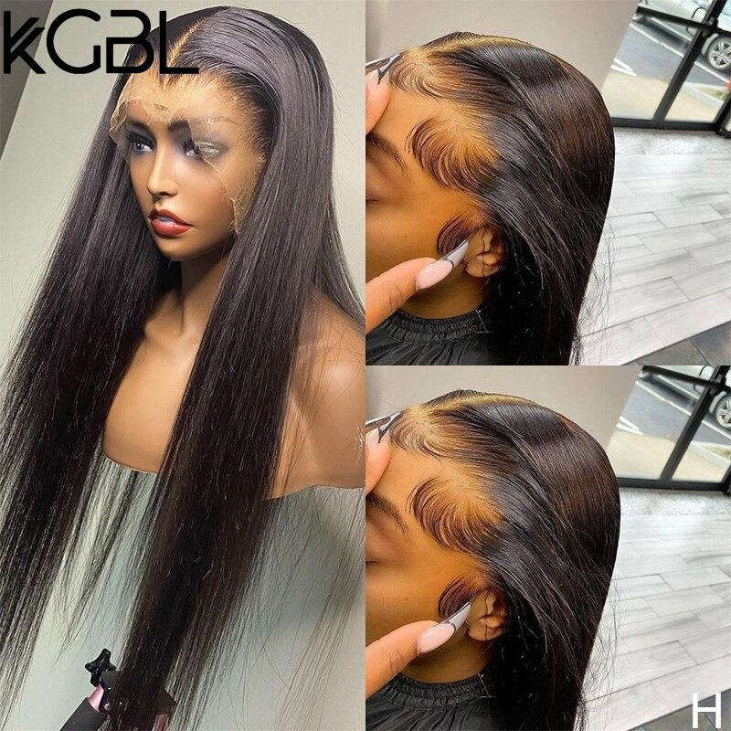 KGBL bouclés point culminant Ombre 13*6 dentelle avant perruques de cheveux humains pré-plumé 180% densité 8-24 ''non-remy pour les femmes brésilien moyen