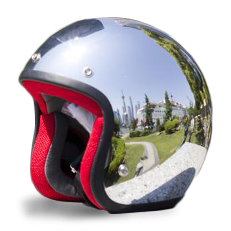 MYSdd Vintage motorcycle helmet SILVER Chrome Mirror painting cascos capacete jet scooter open retro helmet silver with black-62 S