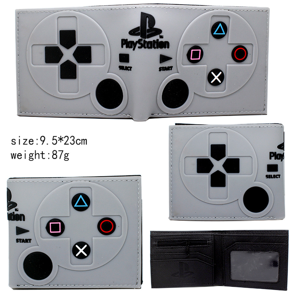 Game PlayStation 4 Controller Handle PVC Wallet Boys Girls Zip Coin Pocket Bifold Short Photo Card Holder Layers Cartoon Purses