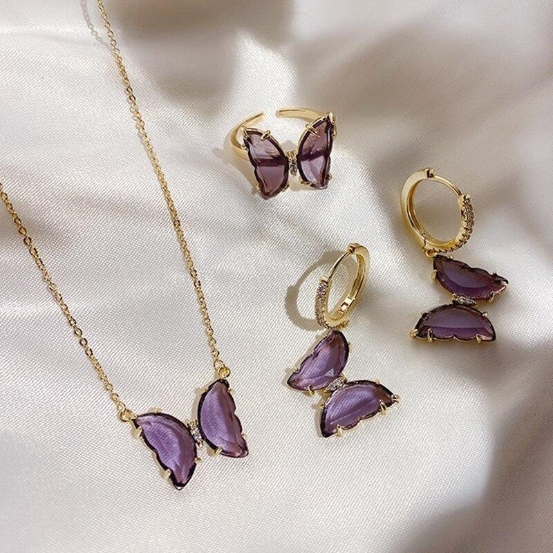 Peri'sBox Purple Color Butterfly Necklaces translucent Glass Pendant Necklaces for Women Romantic Necklace Summer Jewelry 2020