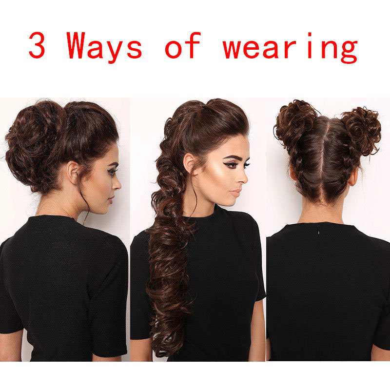 BUQI Fashion Adult Women Curly Bun Chignon Elastic Band Clip In Hair Extensions Black Blonde High Temperature Fiber Fake Ha