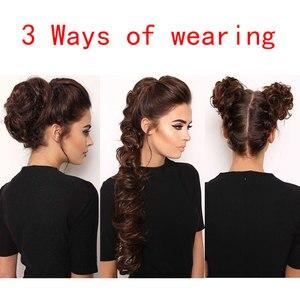 BUQI Fashion Adult Women Curly Bun Chignon Elastic Band Clip In Hair Extensions Black Blonde High Temperature Fiber Fake Ha