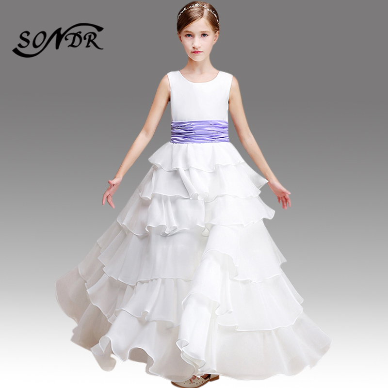 Flower Girl Dresses White HT115 O-neck Sleeveless Floral Little Girls Pageant Dress Girls Tiered Ball Gowns Costumes Elegant