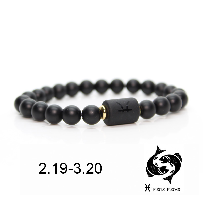 Black stone Beads 12 constellation couple Bracelet Men Bracelets For Women Pulseras Moda Masculina Hombre Man Mens Jewellery