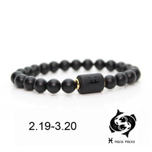 Black stone Beads 12 constellation couple Bracelet Men Bracelets For Women Pulseras Moda