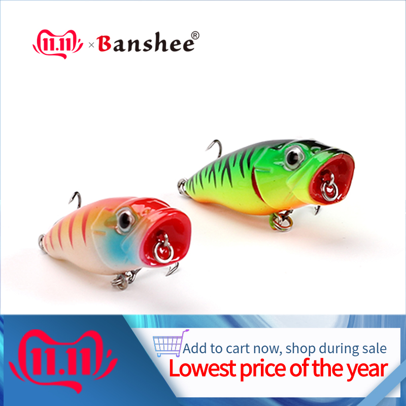 Banshee 45mm 3.3g Bass Popper Fishing Lures Mini Wobblers For Pike Bait Hard Crankbaits Floating/Topwater Poppers Artifcial Lure