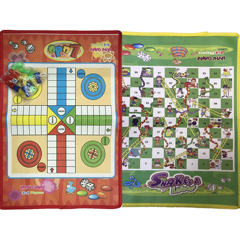 Folding Ludo Chess Snake Chess Toys For Children Portable Snakes And Ladders Puzzle Educational Interactive Game Training Toys