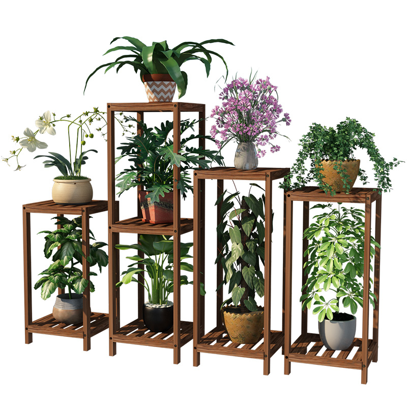 Airs Indoor Balcony Solid Wood Green Luo Flower Rack A Living Room Meaty Flowerpot Chinese Style To Ground Wooden Frame Son