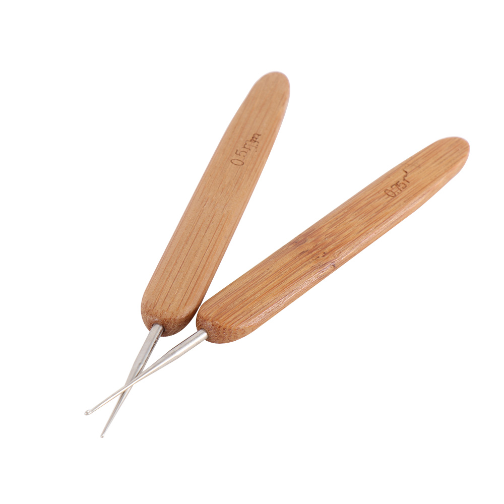1pc Stainless Steel One Head Crochet Needle Hooks For Dreadlock Braiding Hair Making Bamboo Handle Yarn Sewing Tools
