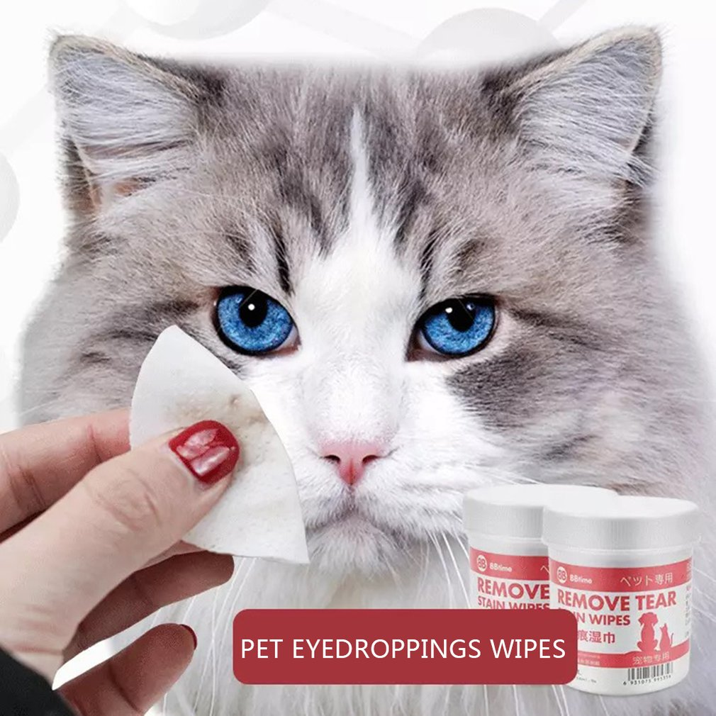 100PCS/Set Pets Dog Cats Eyes Drop Wiper Towels Eyes Wet Wipes Tear Stain Remover Pet Eyes Cleaning Care Supplies