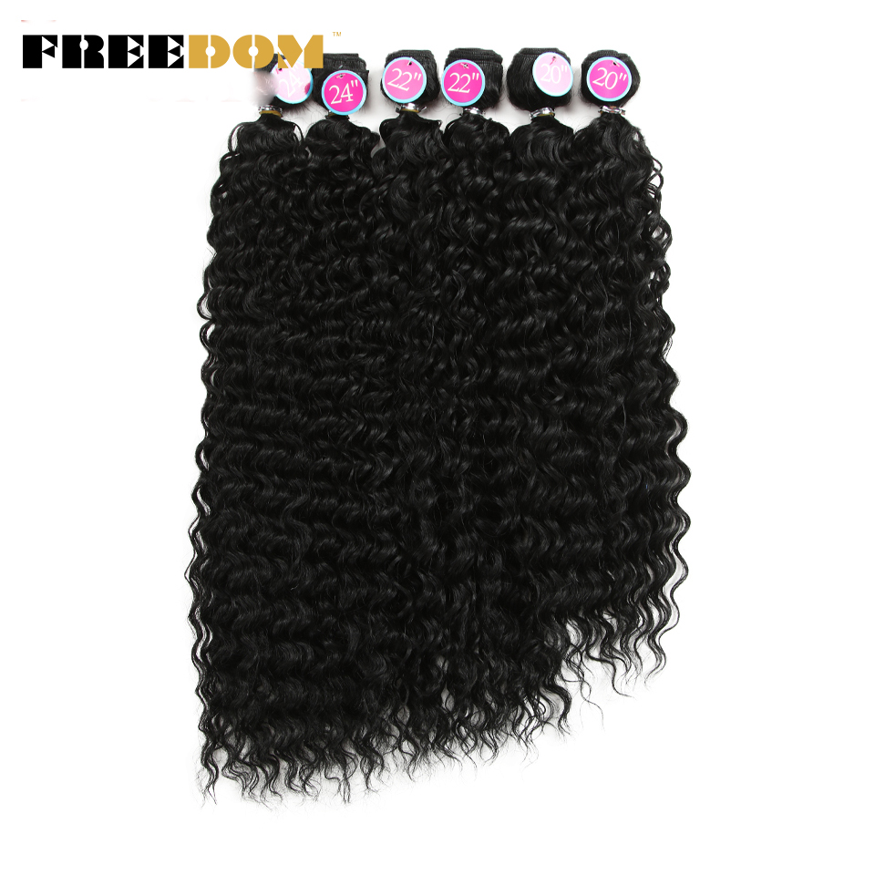 FREEDOM Kinky Curly Hair Weave Bundles Ombre Blonde Natural Color Synthetic Hair Extensions 6 Pcs/lot 20 22 24 inch Long Hair