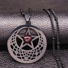 2020 Witchcraft Pentagram StainlessSteel Necklace Women Black Color Glass Dreamcatcher Necklace Jewelry bisuteria N549S02
