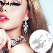 2019 New Arrival Fashion gem Crystal Dangle Earrings Asymmetric Korean Wild Lady sliver Dangle Earrings Female Accessories #ZD(China)
