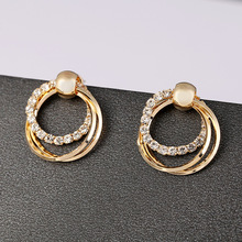 Fashion Exquisite Double Circles Zircon Dangle Earrings Elegant Charm Crystal Earrings for Women Jewelry