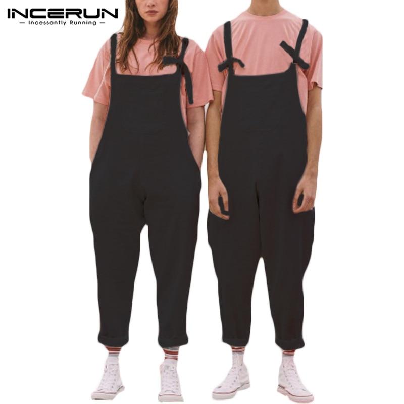 INCERUN Men Jumpsuit Couple Rompers Straps Suspender Pockets Solid Baggy Joggers Cotton Linen Pants Streetwear Overalls 2020 5XL