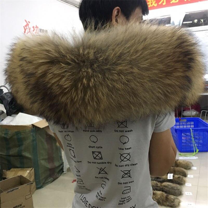 Натуральный меховой воротник большой Модный Зимний натуральный мех енота Женский шарф пальто парка мужские шарфы Роскошный мех 60 см 70 см#22