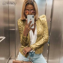 Lossky Sequined Jacket Outwear Women Autumn Spring Silver Shiny Long Sleeve Card