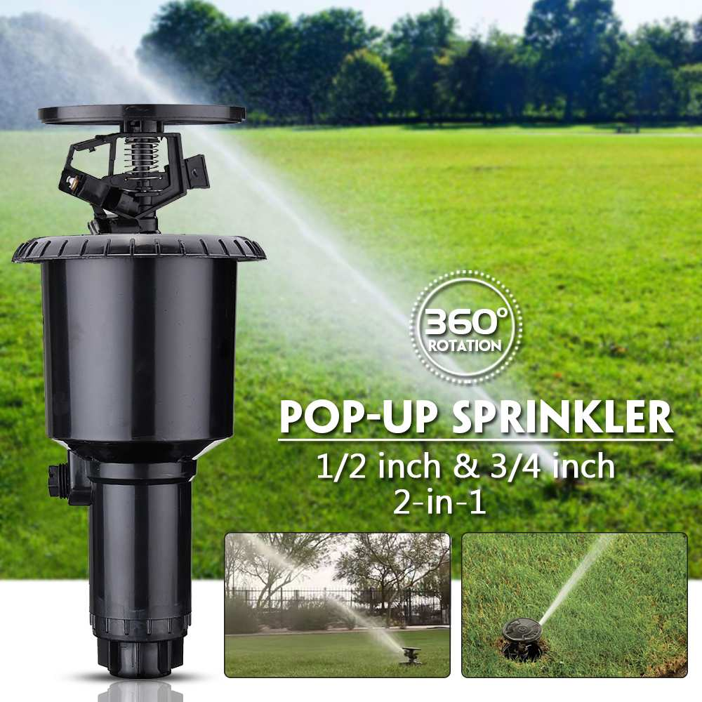 2in 1 1/2 and 3/4 inch 360 Degrees Garden Irrigation Sprinkle Plastic Popup Lawn Watering  Double interface Sprinkler