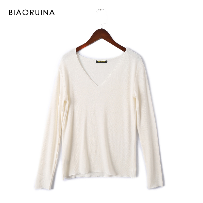 BIAORUINA Women's Basic All-match Solid Thin Pullover Female Casual V-neck Autumn Winter Bottoming Sweater New Arrival